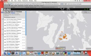 USGS Earthquake map