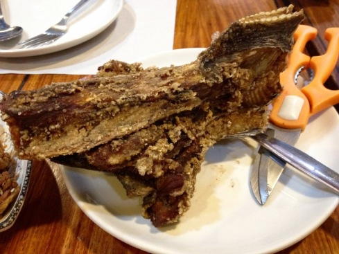 Orange Karenderia's best-seller Crispy Buntot ng Tuna (Deep-fried Tuna Tail)